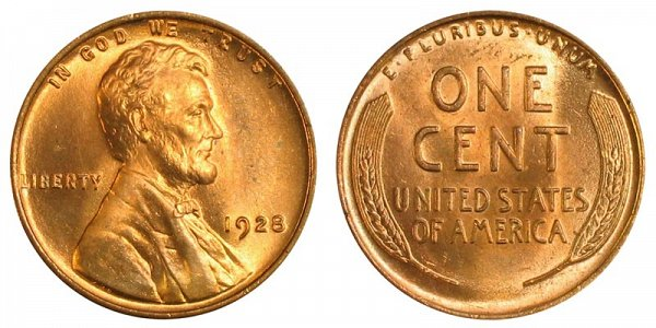 1928 Lincoln Wheat Cent Penny