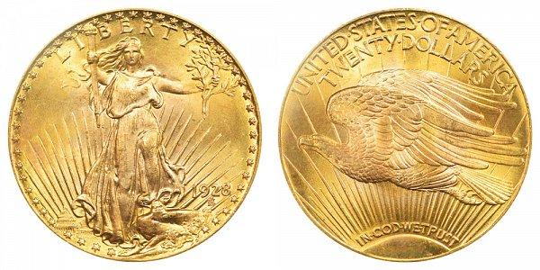 1928 Saint Gaudens $20 Gold Double Eagle - Twenty Dollars