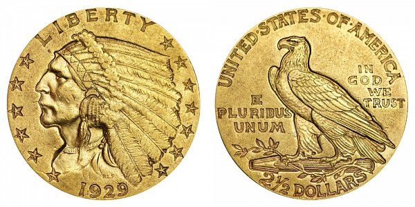 1929 Indian Head $2.50 Gold Quarter Eagle - 2 1/2 Dollars