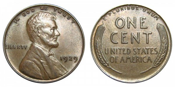 1929 Lincoln Wheat Cent Penny