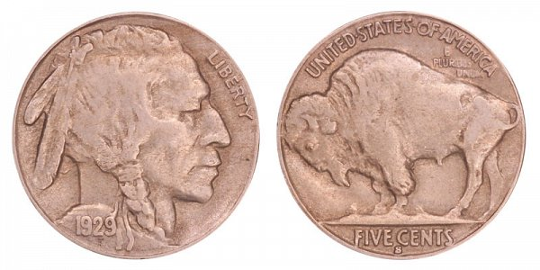 1929 S Indian Head Buffalo Nickel