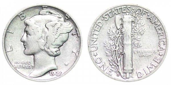 1929 S Silver Mercury Dime