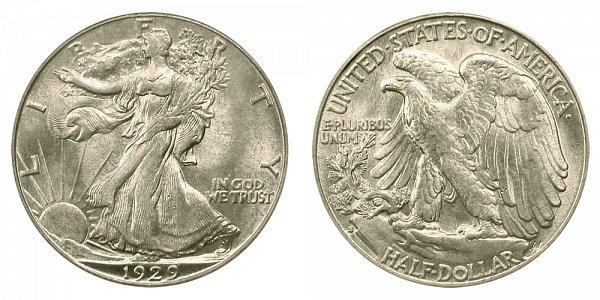 1929 S Walking Liberty Silver Half Dollar