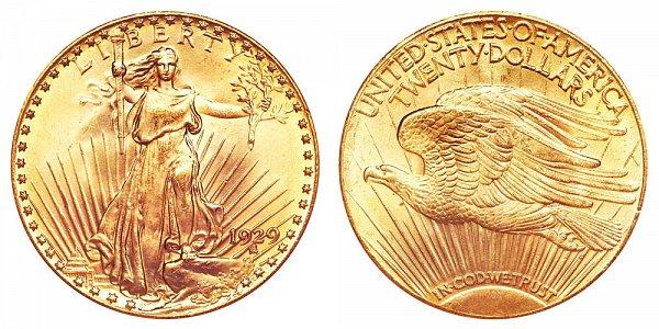1929 Saint Gaudens $20 Gold Double Eagle - Twenty Dollars