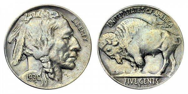 1930 S Indian Head Buffalo Nickel