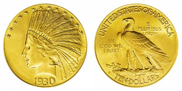 1930 S Indian Head $10 Gold Eagle - Ten Dollars