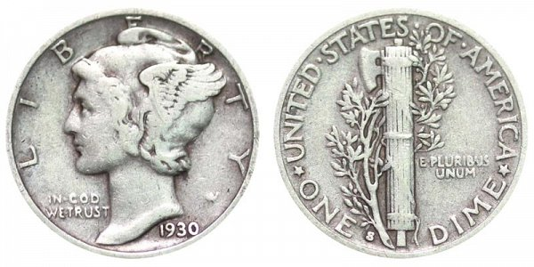 1930 S Silver Mercury Dime