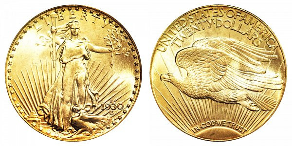 1930 S Saint Gaudens $20 Gold Double Eagle - Twenty Dollars