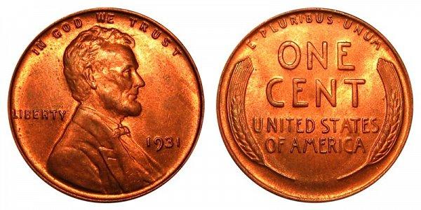 1931 Lincoln Wheat Cent Penny
