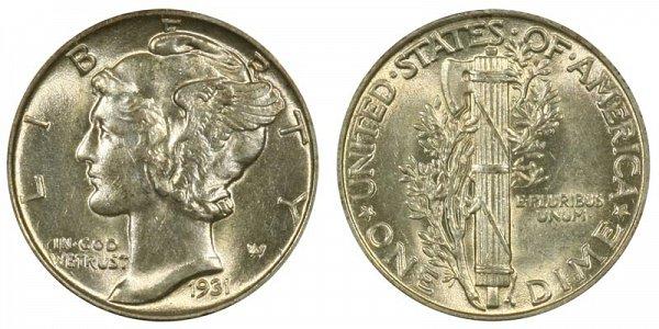 1931 Silver Mercury Dime