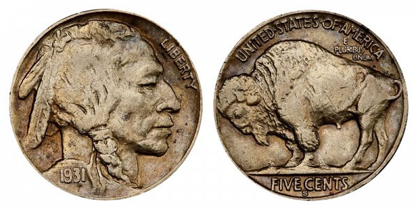 1931 S Indian Head Buffalo Nickel