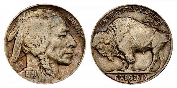1931 S Indian Head Buffalo Nickel