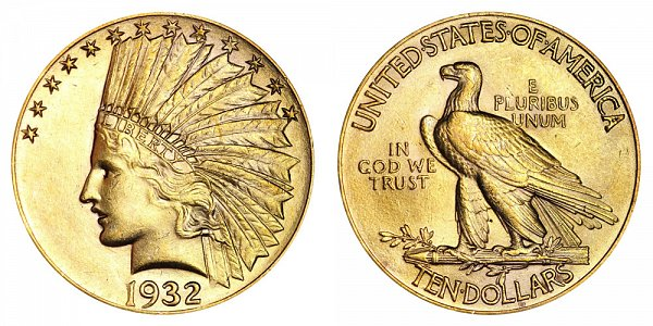 1932 Indian Head $10 Gold Eagle - Ten Dollars