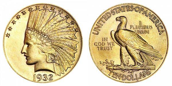 1932 Indian Head $10 Gold Eagle - Ten Dollars