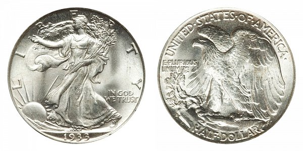 1933 S Walking Liberty Silver Half Dollar