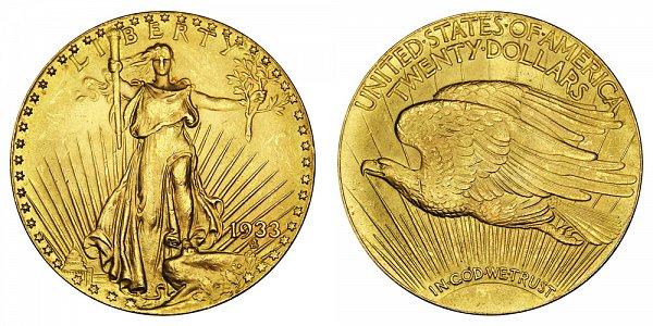 1933 Saint Gaudens $20 Gold Double Eagle - Twenty Dollars