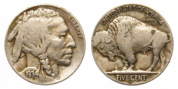 1934 D Indian Head Buffalo Nickel