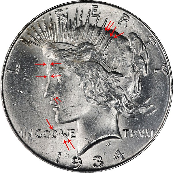 1934 D Peace Silver Dollar - Doubled Die Obverse DDO