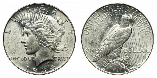 1934 D Peace Silver Dollar
