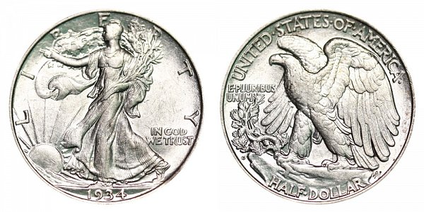 1934 D Walking Liberty Silver Half Dollar