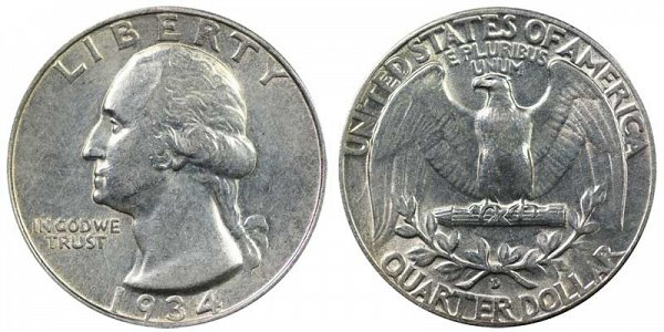 1934 D Washington Silver Quarter