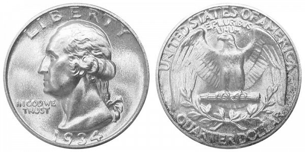 1934 Washington Silver Quarter - Heavy Motto