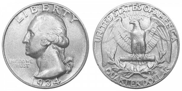 1934 Washington Silver Quarter - Light Motto