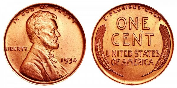 1934 Lincoln Wheat Cent Penny