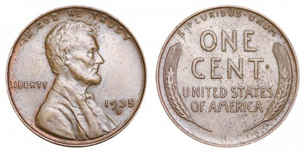 1935 D Lincoln Wheat Cent Penny