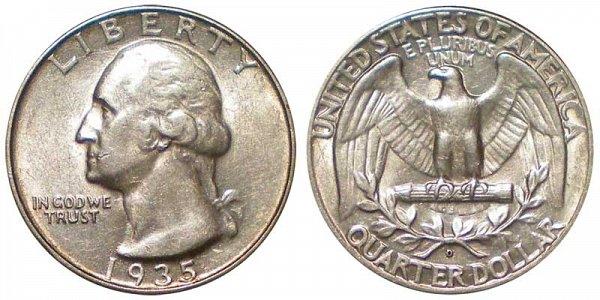 1935 D Washington Silver Quarter