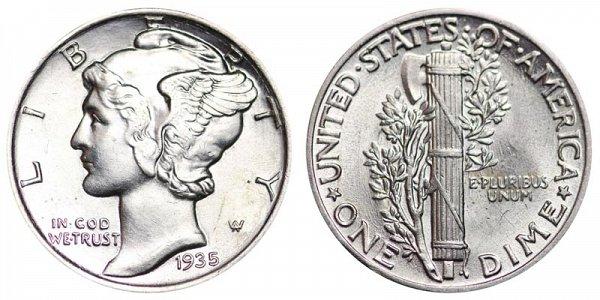 1935 Silver Mercury Dime