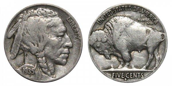1935 S Indian Head Buffalo Nickel