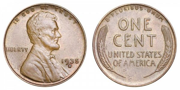 1935 S Lincoln Wheat Cent Penny