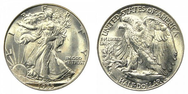 1935 S Walking Liberty Silver Half Dollar