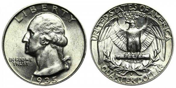 1935 S Washington Silver Quarter