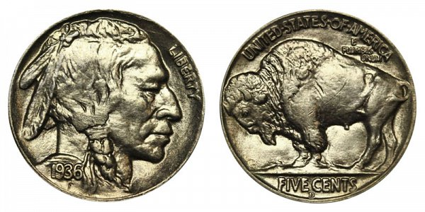 1936 D Indian Head Buffalo Nickel