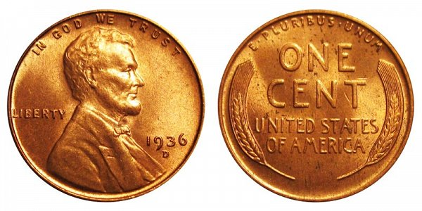 1936 D Lincoln Wheat Cent Penny