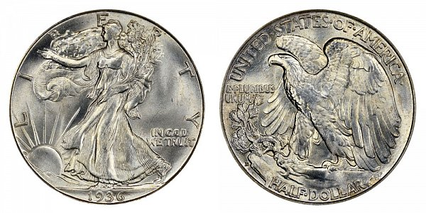 1936 D Walking Liberty Silver Half Dollar