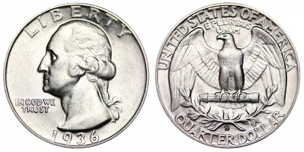 1936 D Washington Silver Quarter