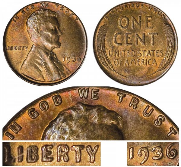 1936 Doubled Die Obverse DDO Lincoln Wheat Cent Penny
