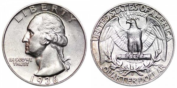 1936 S Washington Silver Quarter