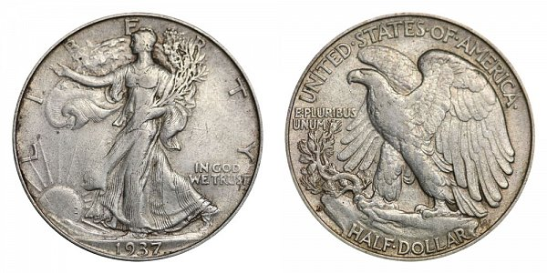 1937 D Walking Liberty Silver Half Dollar