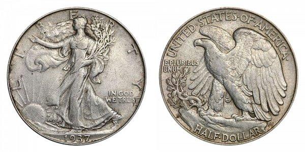 1937 D Walking Liberty Silver Half Dollar