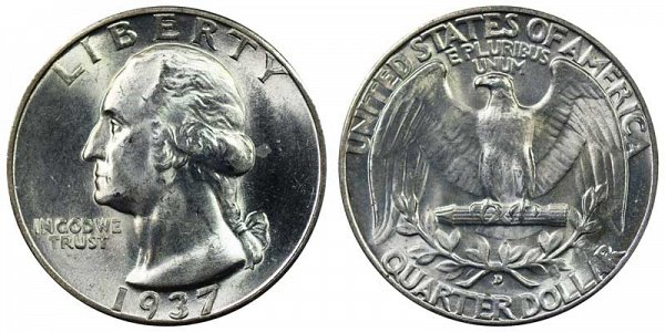 1937 D Washington Silver Quarter