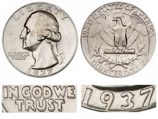 1937 Doubled Die Obverse DDO Washington Silver Quarter