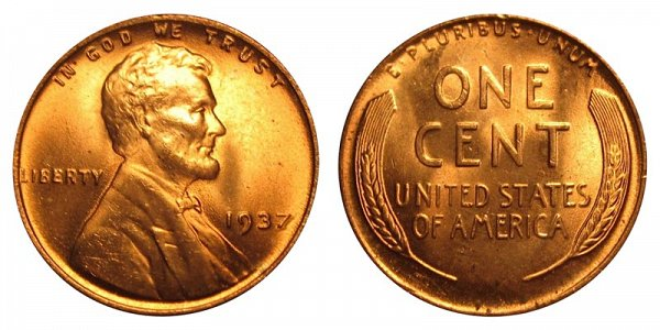 1937 Lincoln Wheat Cent Penny