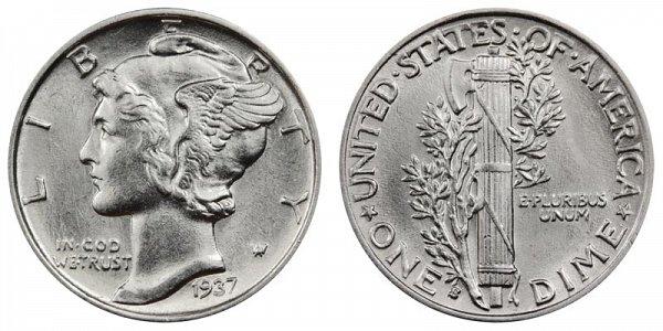 1937 S Silver Mercury Dime