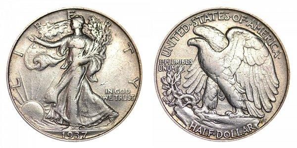 1937 S Walking Liberty Silver Half Dollar