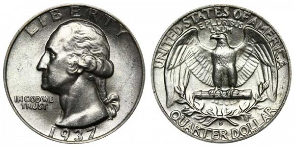 1937 S Washington Silver Quarter