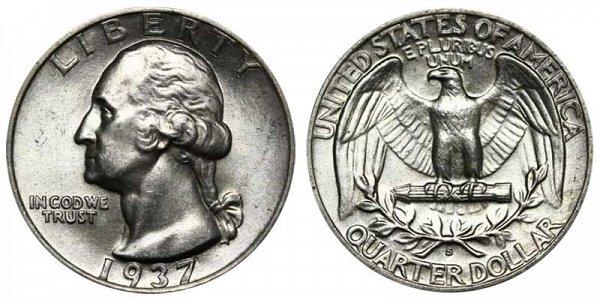 1937 S Washington Silver Quarter